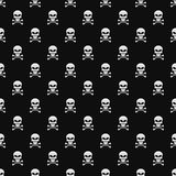 Abstract background. A pattern on a black background from light gray skulls. Wallpapers for your projects. Danger and threat. Vect. Or illustration. EPS 8 stock illustration