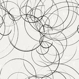 Abstract background pattern, with circles, strokes and splashes,. Seamless, black and white stock illustration