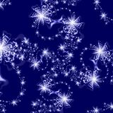 Abstract Background pattern of Silver Stars on Dark Blue Background Stock Photo