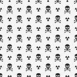 Abstract background. A pattern on a white background of black skulls. Sign of radiation. Wallpapers for your projects. Danger and. Threat. Vector illustration royalty free illustration