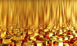 Abstract background pentagonal gold bars. 3d illustration Royalty Free Stock Images