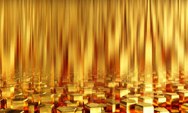 Abstract background pentagonal gold bars. 3d illustration Stock Photography