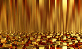 Abstract background pentagonal gold bars. 3d illustration Royalty Free Stock Image