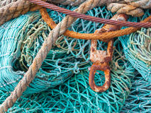 Abstract background with a pile of fishing nets Royalty Free Stock Photos