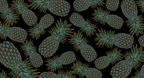 Abstract background with pineapple. On a black background abstract pineapples, precious stones, metal Royalty Free Stock Images