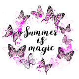 Abstract background with pink butterflies. Summer abstract background with pink butterflies and lettering `Summer is magic Royalty Free Stock Photography