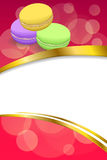 Abstract background pink macaroon yellow violet purple green vertical frame illustration Stock Photography