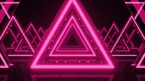 Abstract background, pink neon triangles. Triangle Future Space Tunnel. Laser show, virtual reality, glowing lines, tunnel,