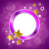 Abstract background pink violet gold stars circle frame illustration Stock Image