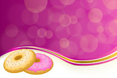 Abstract background pink yellow baked donut glazed ring frame illustration Royalty Free Stock Photo