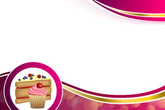Abstract background pink yellow dessert cake blueberry raspberries cherry cupcake muffins cream frame circle illustration Stock Photo