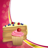 Abstract background pink yellow dessert cake blueberry raspberries cherry cupcake muffins cream frame illustration. Vector royalty free illustration