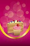 Abstract background pink yellow dessert cake blueberry raspberries cherry cupcake muffins cream vertical frame illustration Stock Images
