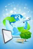 Abstract Background with Planet Earth. Airplane Tablet Computer Bench and tree Stock Illustration
