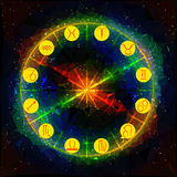 Abstract background with planetary symbols of the Zodiac Stock Photo