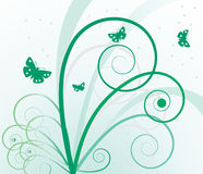 Abstract background with plants and butterflies Stock Images