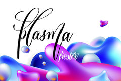 Abstract background plasma poster to your banner desig. N, bright colorful plasma drops shapes pattern on white, vector illustration Royalty Free Stock Image
