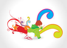 Abstract background with playing kid, illustration Royalty Free Stock Photos