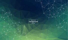 Abstract background polygonal. Bright green digital illustration with triangles. Abstract polygonal colorful background with connected dots and lines royalty free illustration
