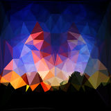 Abstract background of polygons resembling landscape with dramatic sky and mountains. Red, dark blue, orange and yellow background with silhouettes of mountains Royalty Free Stock Images
