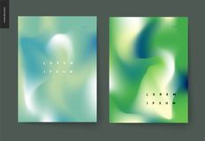 Abstract background posters set. Wavy liquid shapes for branding style, covers and backdrops royalty free illustration