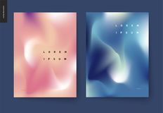 Abstract background posters set. Wavy liquid shapes for branding style, covers and backdrops stock illustration