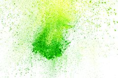 Abstract background of powder explosion. Abstract explosion of powder splatted over white background Stock Photo