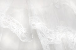 Abstract background pure white lace tulle fabric. Lace brings nostalgic thoughts of our wedding day, our first dance, romance, the prom, the ball, our first Stock Image