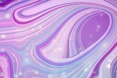 Abstract background in purple, blue and pink tones. The colors mix into each other to create different patterns. Glittering polka dots over whole background stock illustration