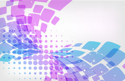 Abstract background, purple and blue on white. Abstract background, purple and blue geometric elements on white, petals and halftone pattern Stock Illustration