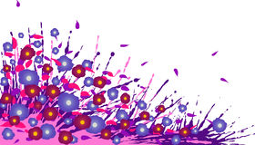 Abstract background. Purple splash and flowers with petals. Royalty Free Stock Images