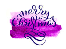 Abstract background purple tone and the text of Merry Christmas. Lettering calligraphy.  Royalty Free Stock Image