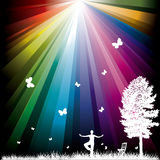Abstract background with rainbow. Woman tree and chair royalty free illustration