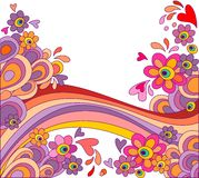 Abstract background. With rainbow and colorful flowers royalty free illustration