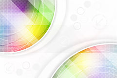 Abstract background in rainbow colors with circular elements and halftone effect. Stock Image