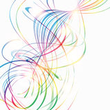 Abstract background with rainbow curved lines. On white stock illustration