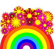 Abstract background - a rainbow and flowers. Abstract illustration of a rainbow, background for the text Royalty Free Stock Photos