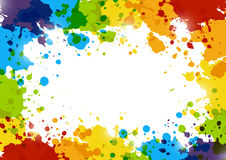 Abstract background with rainbow paint splashes. Abstract frame background with rainbow paint splashes Stock Image