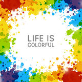 Abstract background with rainbow paint splashes. On white Stock Images