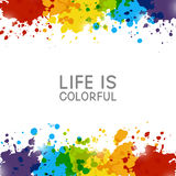 Abstract background with rainbow paint splashes. On white Stock Photo