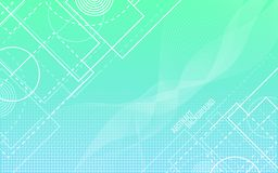 Abstract background. Random white lines and shapes. Geometric backdrop. Trendy gradient background. Circles and waves. Vector illustration Royalty Free Stock Photography