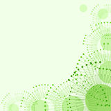Abstract background with rays and circles. Nature, ecology, communications. Abstract background of overlapping circles with rays in shades of green, with space royalty free illustration