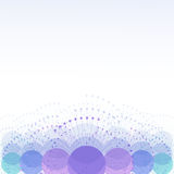 Abstract background with rays and circles with space for text. Technology, communication. Abstract background in cool colors from overlapping circles with rays vector illustration