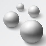 Abstract background with realistic grey spheres Stock Images