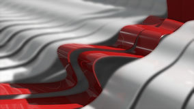 Abstract background with realistic waves lines. Red bend lines in the center. Technology backdrop Stock Images