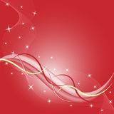 Abstract background red. Abstract red background composition with stars and flowing wispy lines. Copy space for text royalty free illustration