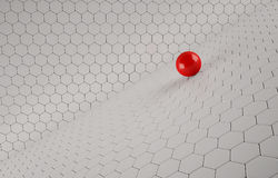 Abstract background of the red Ball. On white mesh grid Royalty Free Stock Photo
