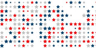 Abstract background of red, blue, white stars. 4th of July. Abstract background of red, blue, white stars in the colors of the United States, the patriotic stars Stock Illustration