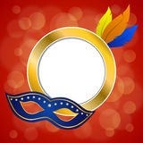 Abstract background red carnival party mask plumage gold circle frame illustration Royalty Free Stock Images