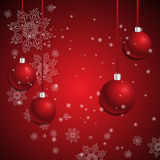 Abstract background with red christmas balls.  Stock Photo